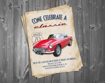 Note Card Vintage Theme Surprise Party Adult Birthday 60th Birthday Motorcycle Thank You