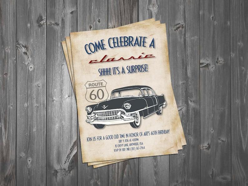Come Celebrate A Classic 5x7 Birthday Invitation Car Surprise Party 60th Vintage Theme