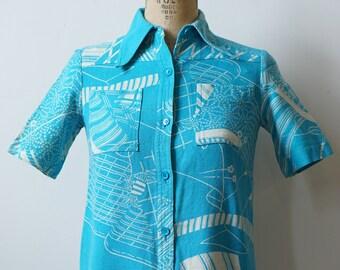 1970s Hanae Mori Blue Shirt