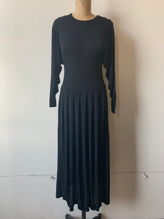 1980s Jean Muir London Rayon Black Dress- AS IS