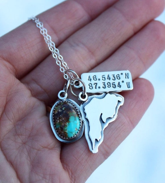 Marquette Charm Necklace featuring Natural Royston Turquoise
