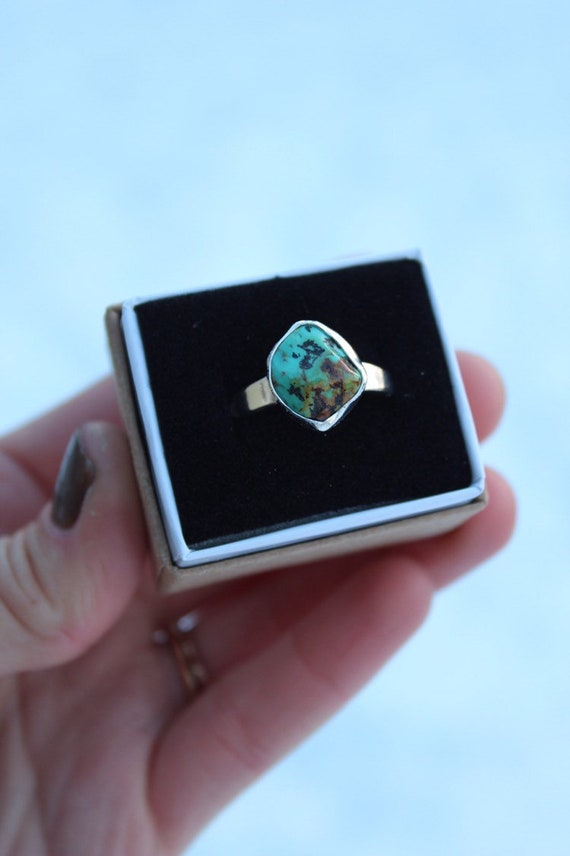 Alacron Nugget Turquoise Solo Ring- Size 9