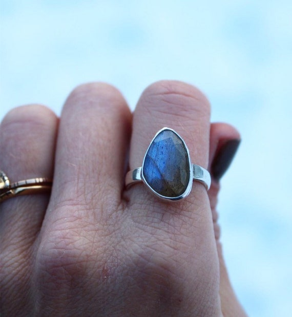 Faceted Labradorite Solitaire Ring- Size 6