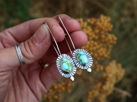 One of a Kind Turquoise Dot Earrings- Pair 2
