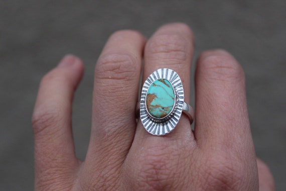 Royston Turquoise Stamped Ring- Size 6-6.25