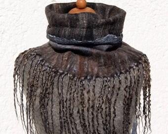 OOAK Handfelted Angora Loop Wrap Cowl With Wensleydale Locks Gift For Her