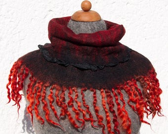 OOAK Handfelted Angora Loop Wrap Cowl With Gotland Locks Gift For Her