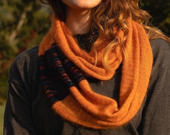 Caramel. Knitted Angora Wrap Cowl Loop