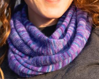 Purple Blue. Knitted Angora Wrap Cowl Loop
