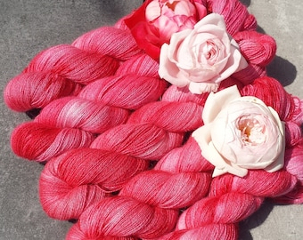 Deep Pink. Angora PURE LACE. Homegrown Bunny Yarn from Our Own Rabbitry. Seidenhase. Lace Yarn. Hand Dyed.