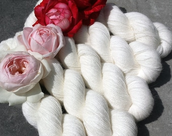 Natural White. PURE LACE. Angora. Homegrown Bunny Lace Yarn from Our Own Rabbitry.