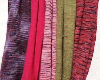 Shades of Pink. Knitted Angora Wrap Cowl Loop