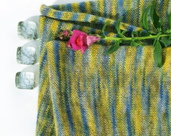 Light BlueGreen. Knitted Angora Wrap Cowl Loop