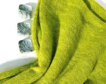 Kiwi. Knitted Angora Wrap Cowl Loop