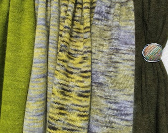 Shades of Chartreuse. Knitted Angora Wrap Cowl Loop