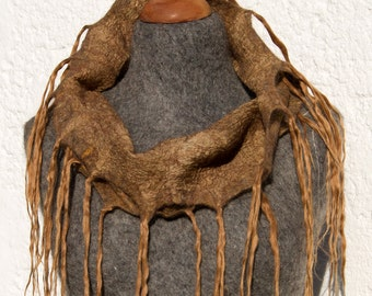 OOAK Handfelted Angora Loop Wrap Cowl With Suri Alpaca Locks. Gift For Her.
