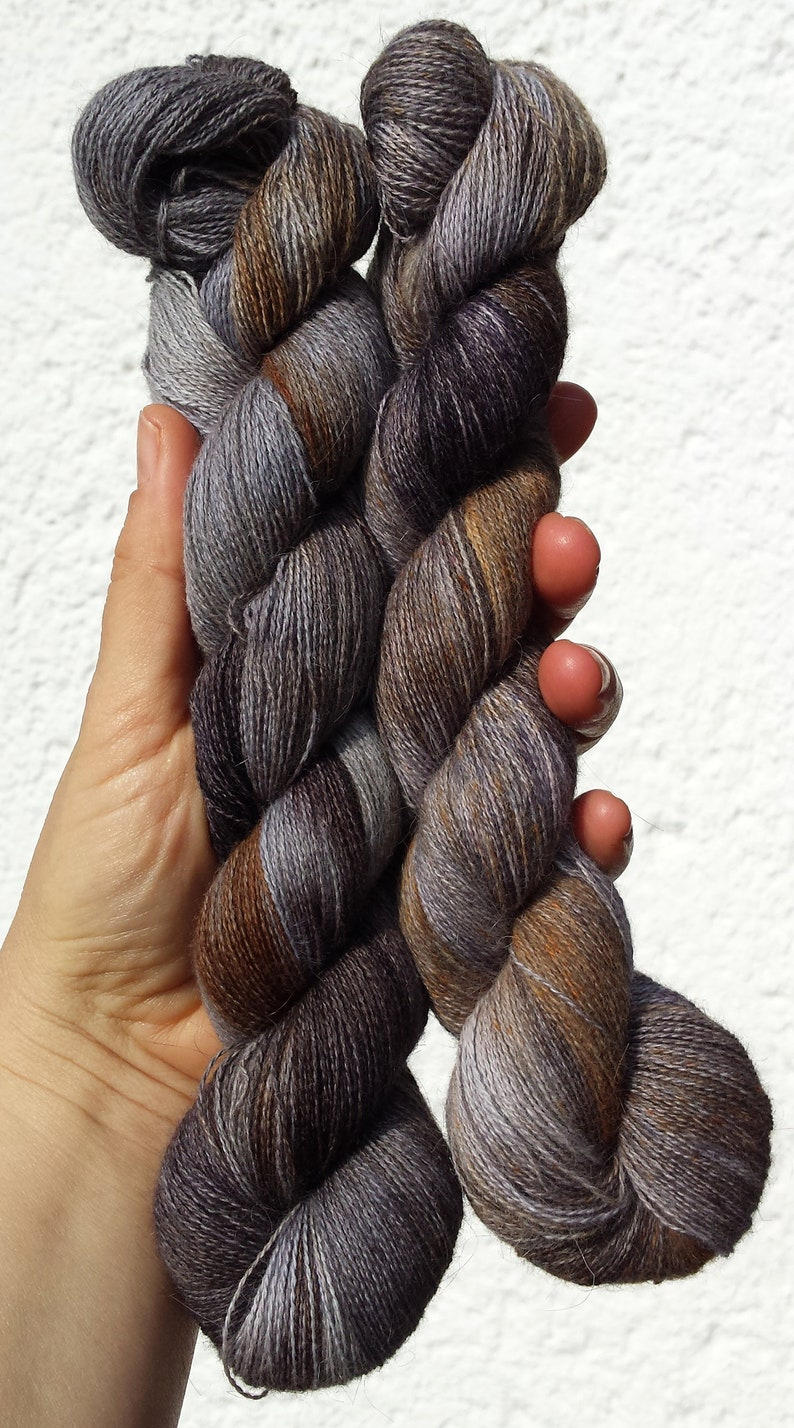 Angora PURE LACE Homegrown Bunny Yarn from Our Own Rabbitry Lace Yarn. Seidenhase Dark Brown