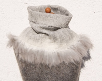 OOAK Handfelted Angora Loop Wrap Cowl With Angora Locks Gift For Her