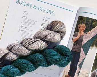 Bunny & Claire. Original Colors. 2x Angora PURE. Homegrown and handdyed. Seidenhase.
