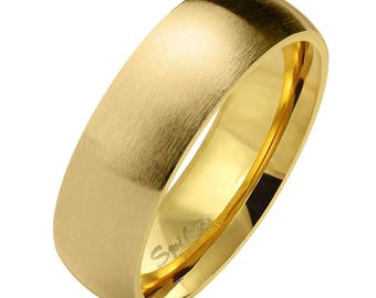 Matte Finish Surface Gold PVD Stainless Steel Band Rings