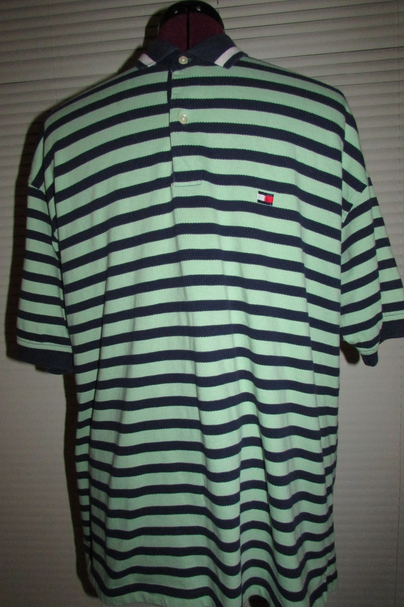 6f969fcc Vintage Tommy Hilfiger Striped Polo Shirt Mint Green/Navy Blue   Etsy