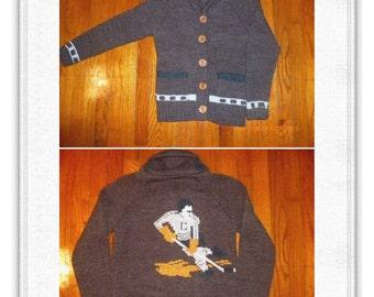 70er 80er Jahre Pullover Schal Kragen eine Original Import braun Hockey Spieler Größe M