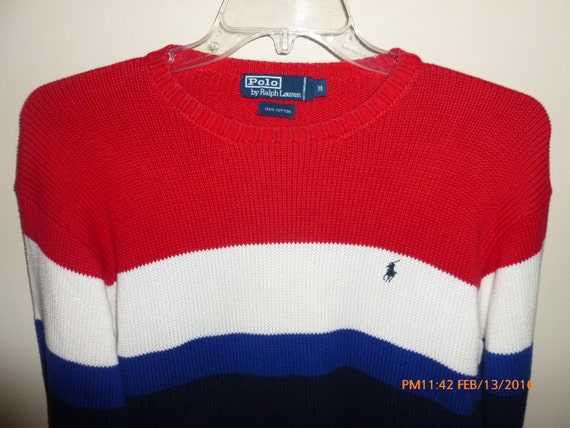 Ralph Lauren Polo Colorblock Striped Sweater Red W