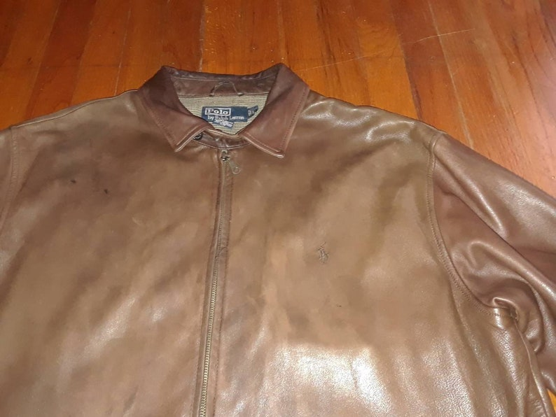 5528832a9f5ceb Vintage Polo Ralph Lauren Leather Jacket Brown
