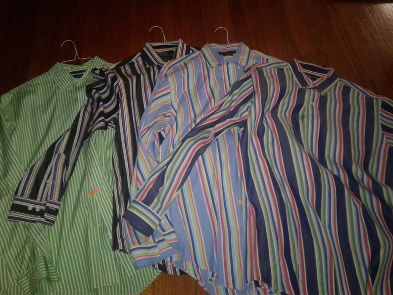 Shirts 90s Dope Fresh Down Ralph Lot Swag Hip Hop Striped 4 Polo Multicolored Lauren Of Prince SzLarge Button bf67Yvgy