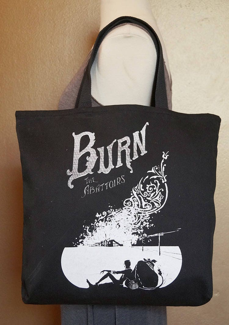 """Tote Bag """"Burn the Abattoirs"""" White Ink on Black Cotton"""