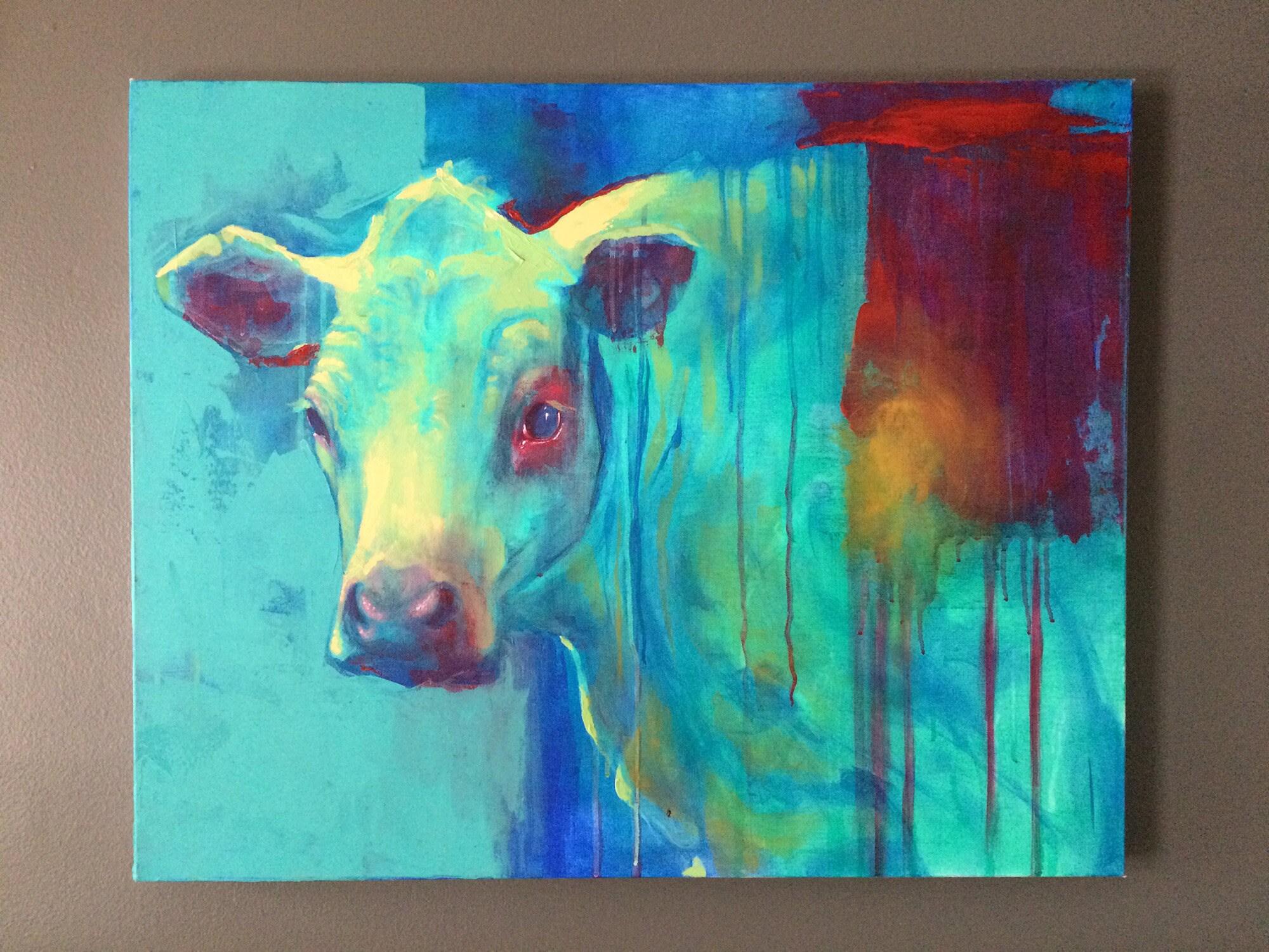 "ORIGINAL Painting ""Blue Cow"""