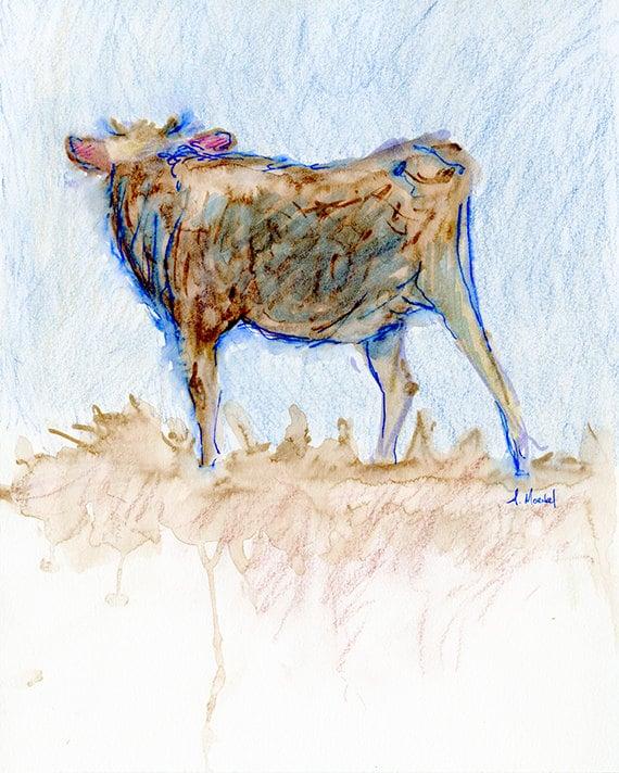 Brown Calf, Watercolor Painting