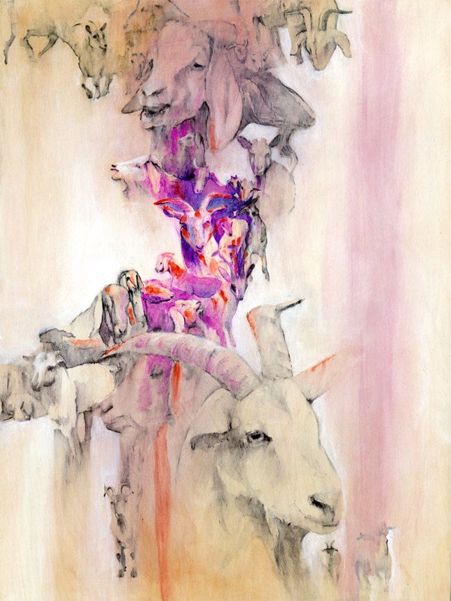"ORIGINAL Painting ""Goats"" Animal liberation art."