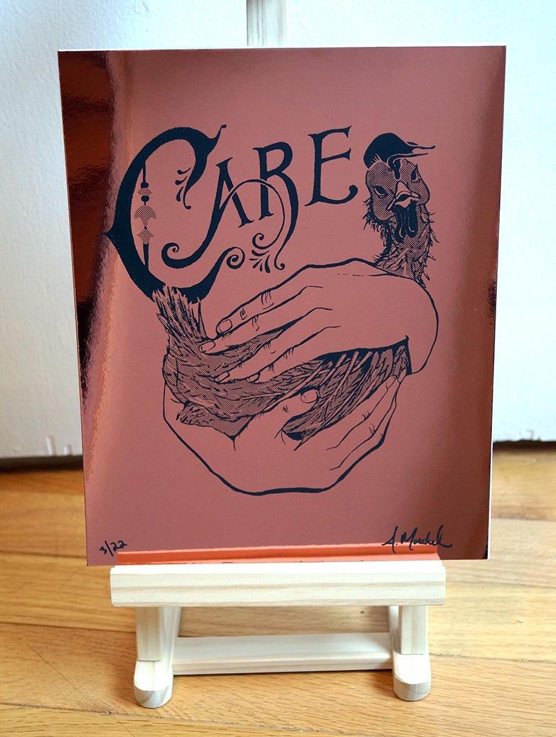 "Silkscreen Print, ""Care,"" Metallic Copper, 1st Edition"