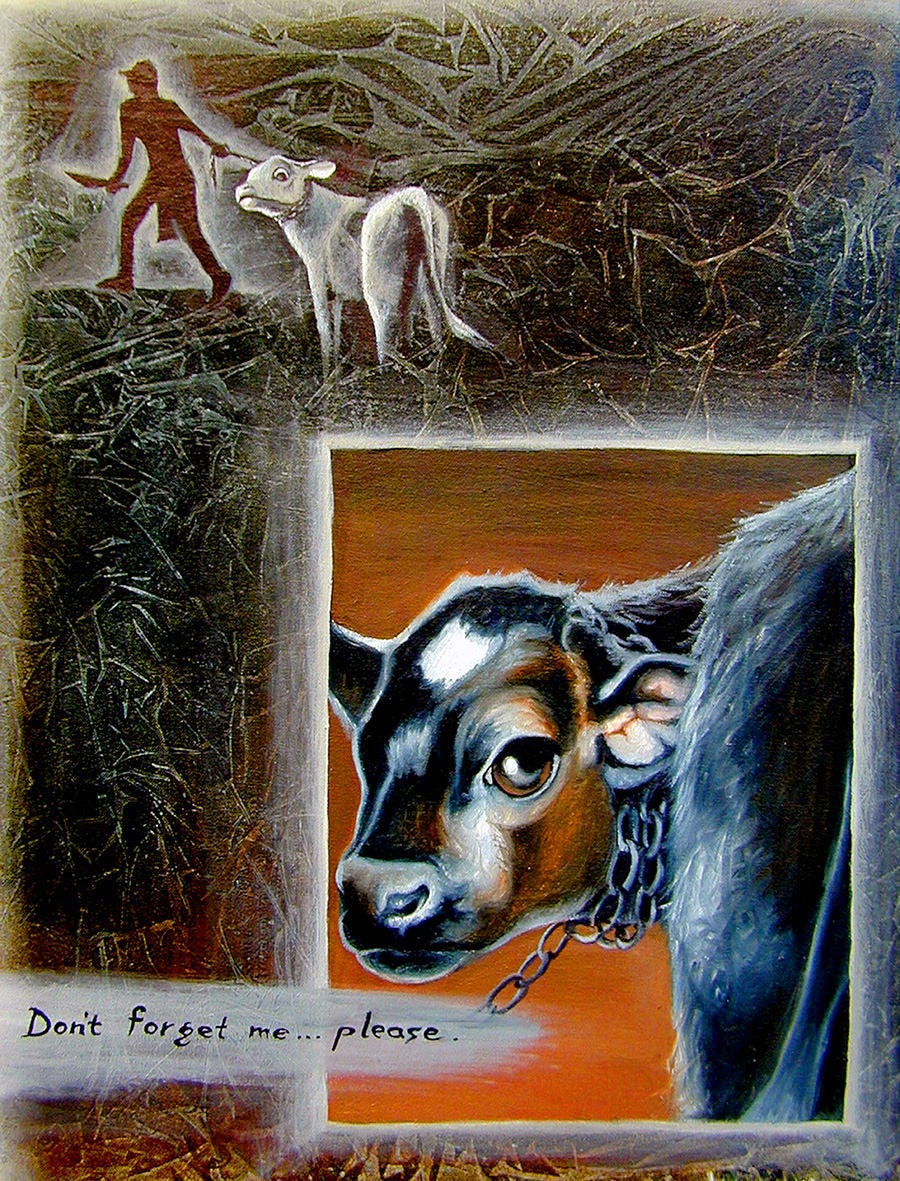"""Hand Embellished Canvas Print - """"Don't Forget Me"""" - Animal Rights Art."""