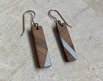 Men's Titanium Wood Earrings - Men Dangle Earring - Wood Jewelry  - 5th Anniversary Gift - Mismatch Earring - Wood Bar - Painted Wood
