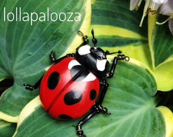 Beautiful 925 Sterling Silver Cute Ladybird Ladybeetle Gold Plate Pendant Marvelous Gently Children Kid/'s Charm Lovely Handmade Handcrafted