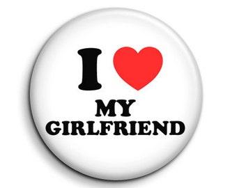 "I love heart my girlfriend - pinback button badge 1.5"""