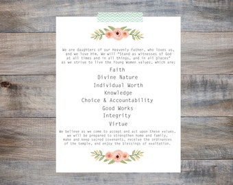 Young Women Theme - Instant Download, LDS, 8X10