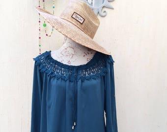 Retro clothing-retro fashon-vintage retro-blue shirt-blue blouse-boho look-hippie-gypsy fashion-retro summer-blue vintage-shirt-blouse-retro
