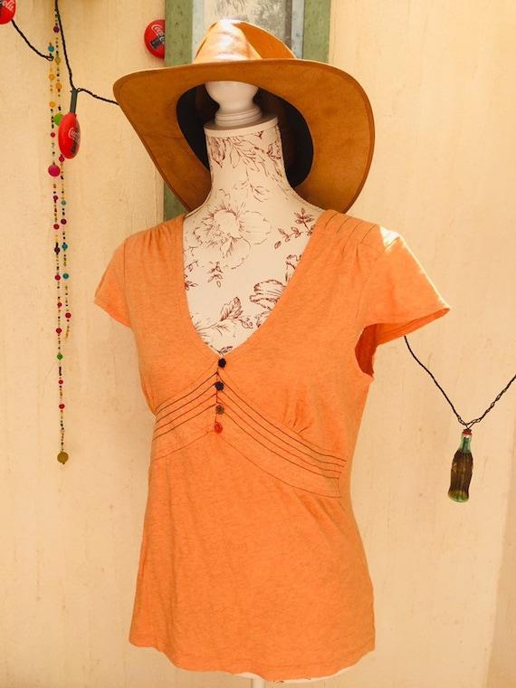 Vintage blouse-vintage shirt-vintage top-orange vi