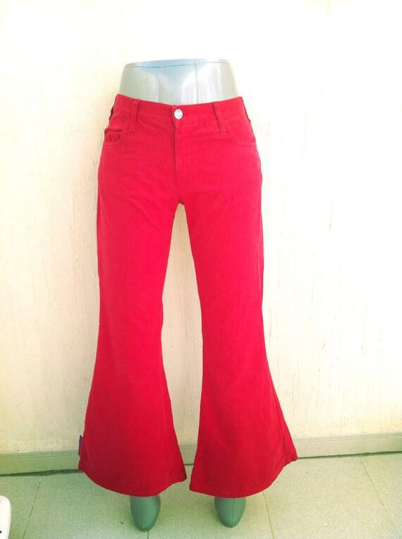 Vintage red bell bottoms pants-vintage bell bottom