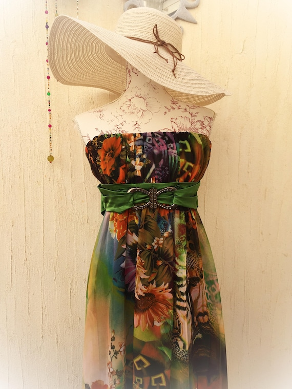 Vintage dress-retro dree-strapless dress-vintage m