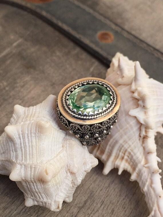 Vintage ring-vintage aquamarine ring-vintage silv… - image 8