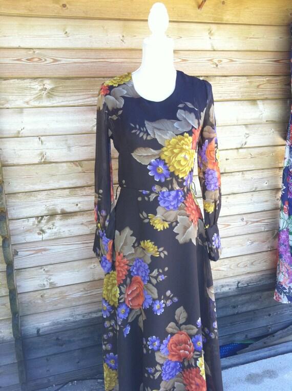 Vintage maxi dress--long maxi dress gown-vintage l