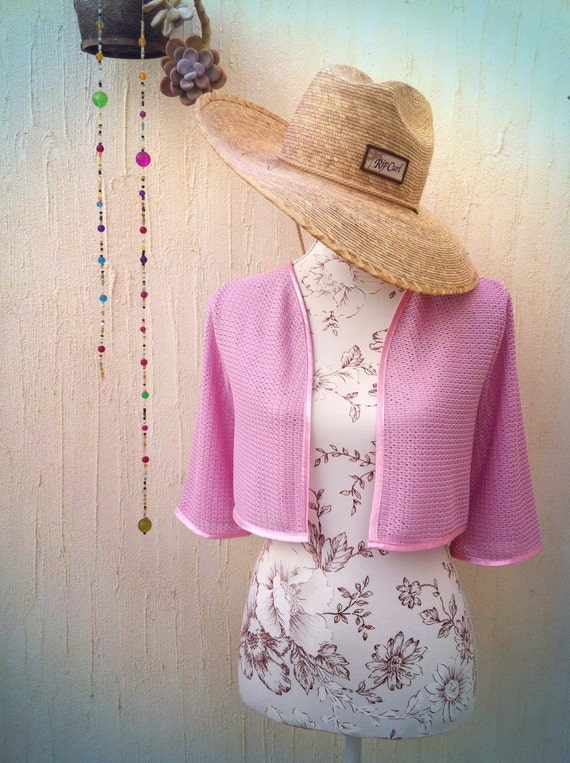Baby Pink Cami Top with Floral Iridescent Embellishment  Glastonbury Hippy Festival Basic Top  Summer Beach Club  Vintage