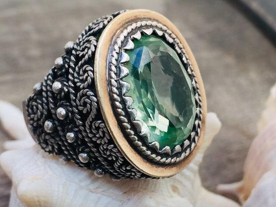 Vintage ring-vintage aquamarine ring-vintage silv… - image 2