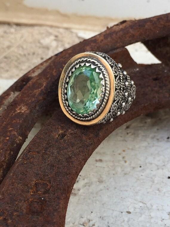 Vintage ring-vintage aquamarine ring-vintage silv… - image 5