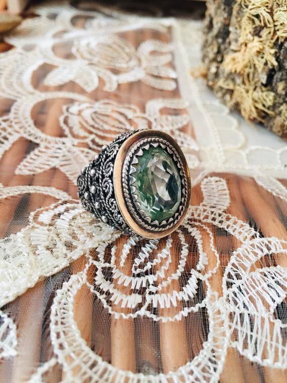Vintage ring-vintage aquamarine ring-vintage silv… - image 3