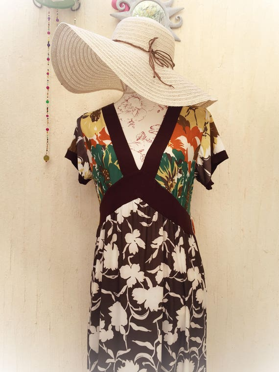 vintage maxi dress - floral 70s long dress - flare